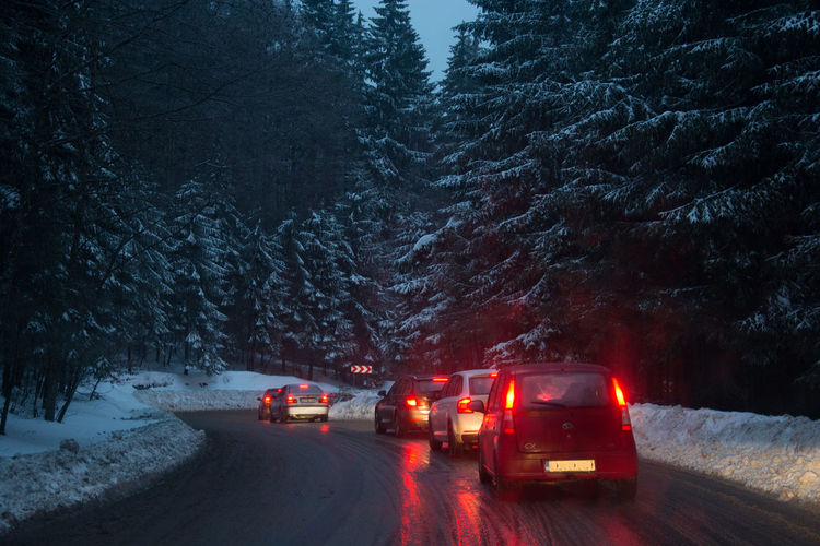 Snow Cold Temperature Car Transylvania Traveling Travel Photography Roads Around The World Mountain Range Mountain Road Mountain Pass Pasul Bratocea Ciucas Mountains Pinetrees Frozen Trees Forest Traffic Jam Illuminated Road It's About The Journey