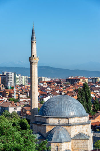 View of the Sinan Pasha Mosque with a cityscape of Prizren, Kosovo in the background Prizren Kosovo Architecture Travel Travel Destinations Tourism Eastern Europe Balkan Balkans Historic Medieval Cityscape Urban Mosque Sinan Pasha Sinan Pasha Mosque Minaret Tower Dome Built Structure Place Of Worship Building Exterior Religion Spirituality Sky