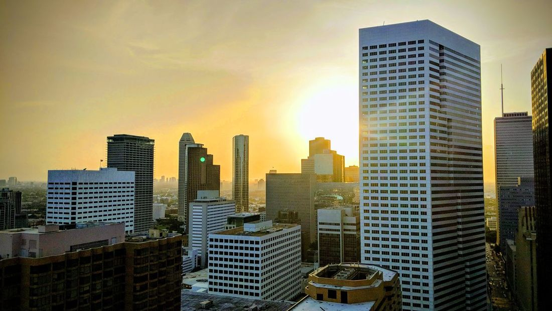 View of Downtown Houston, TX from One Park Place Sunset Downtown Downtown Houston Houston Htown Htx Texas Travel Travel Photography Travel Blogger Good Times Followme Pixelxl2 Architecture City Cityscape Urban Skyline Modern Skyscraper Illuminated Sunset Downtown District Skyline