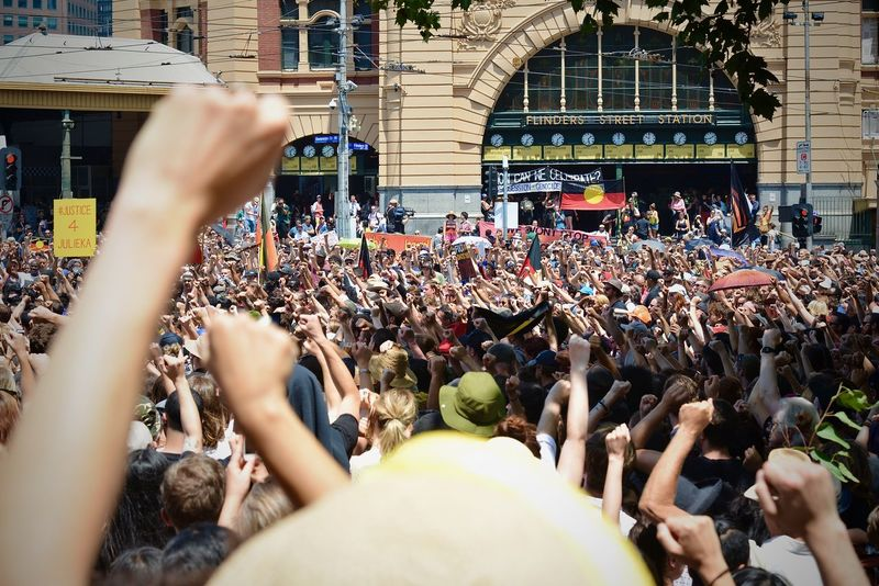 Australia Day Invasion Day Protest Political Protest Politics Protest Crowd Large Group Of People Protesters Raise Your Voice Rally Togetherness