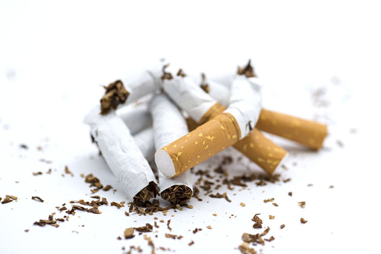 broken cigarettes isolated on white Ashtray  Bad Habit Burnt Careless Cigarette  Cigarette Butt Close-up Communication Indoors  No People RISK Selective Focus Sign Smoking Issues Social Issues Still Life Tobacco Product Warning Sign White Background