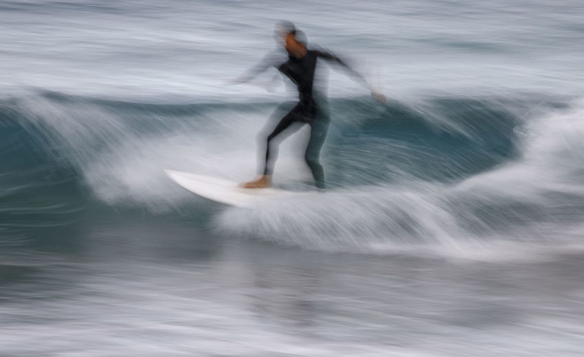 Blurred motion of man in sea