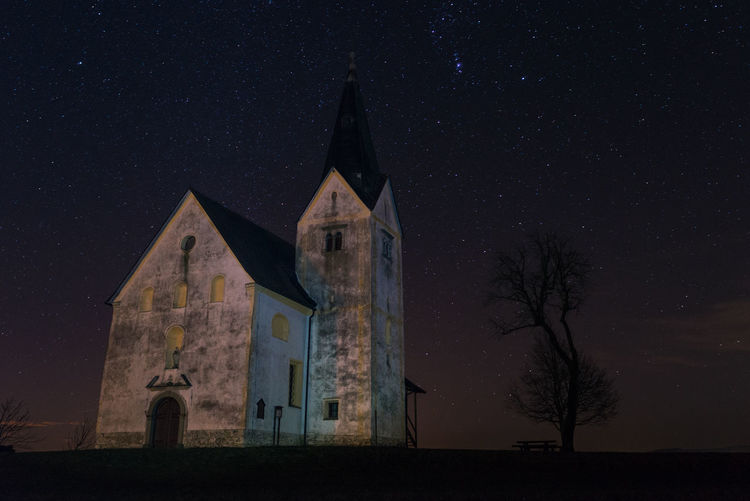 Church amid stars Abandoned Architecture Bell Building Church Cold Dark Exposure Exterior Landscape Learn & Shoot: After Dark Long Night Old Photography Slovenia Stars Tower Tree Winter