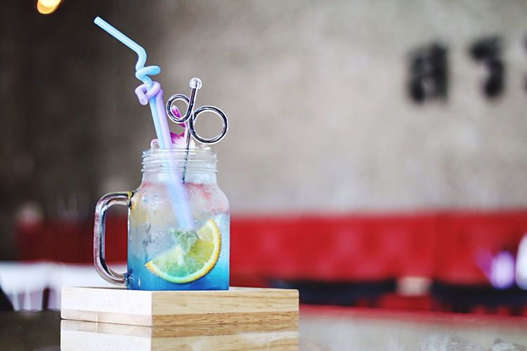 Close-up of drink in mason jar on table