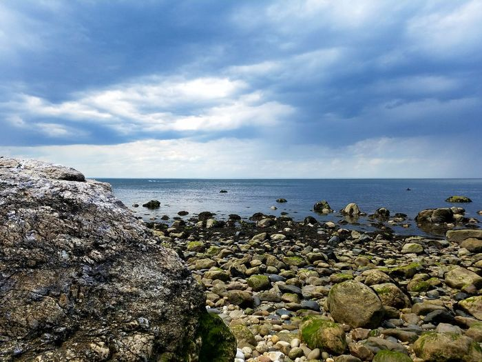 Sea Water Horizon Over Water Beach Nature No People Outdoors Sky Day Tranquility Scenics Beauty In Nature Cloud - Sky Rocks Rocky Beach Boulder Cloudy Blue And Grey Sky Incoming Storm Stormy EyeEmNewHere Lost In The Landscape