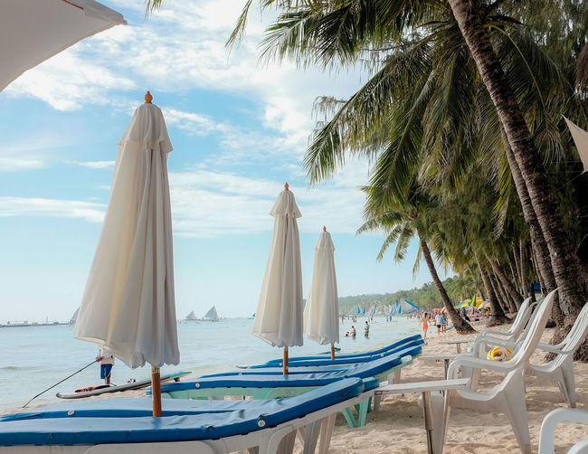 Philippines Travel Beach Boracay Cloud - Sky Day Hammock Horizon Horizon Over Water Land Mode Of Transportation Nature Nautical Vessel No People Outdoors Palm Tree Parasol Plant Sea Sky Swimming Pool Transportation Tree Tropical Climate Water