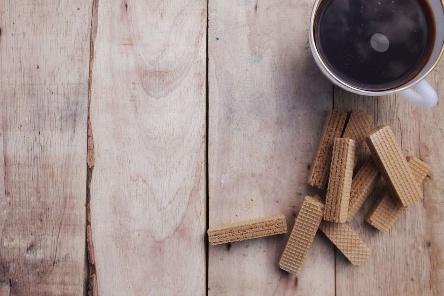 Copy Space Coffee Coffee Time Coffee Cup Wafersticks Waffle Wood - Material High Angle View No People Indoors  Directly Above Studio Shot Close-up Day