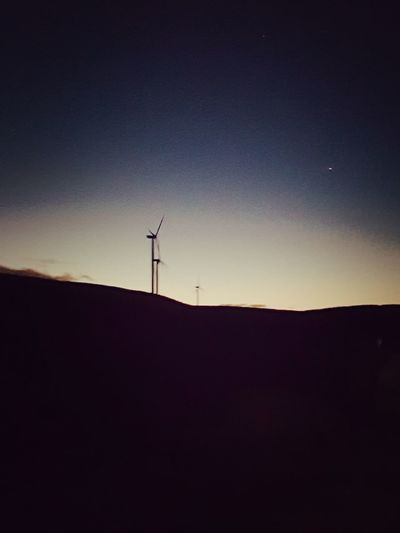 Not alwsys perfect but still pretty Silhouette Wind Power Wind Turbine Fuel And Power Generation No People Nature Alternative Energy Sunset Technology Sky Landscape Rural Scene Night Moon Outdoors Scenics Beauty In Nature Windmill The Great Outdoors - 2017 EyeEm Awards Taking Photos Samsungphotography