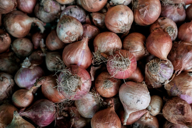 Full frame shot of onions for sale
