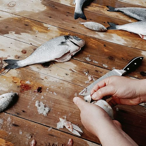 Cooking Leisure Activity Dirty Food Photography Seafoods Cooking At Home Food And Drink Fish Fishing Bkack&withe Freshness Healty Eating Healty Fresh Produce Cooking Dinner Human Body Part High Angle View Human Hand One Person Sand Beach Day Food Stories Business Stories