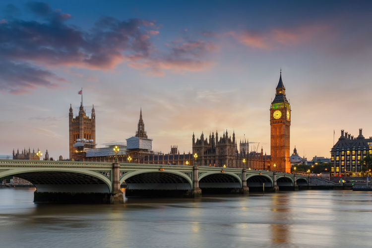 Panoramic view of the Westminster Bridge and Big Ben clocktower in London, UK, after sunset time Architecture Built Structure Clock Tower Sky Building Exterior City Bridge Connection Building Sunset Water Travel Destinations River Cityscape Arch Bridge Government Tourism Cloud - Sky Outdoors London Westminster Evening Lights Illuminated Big Ben