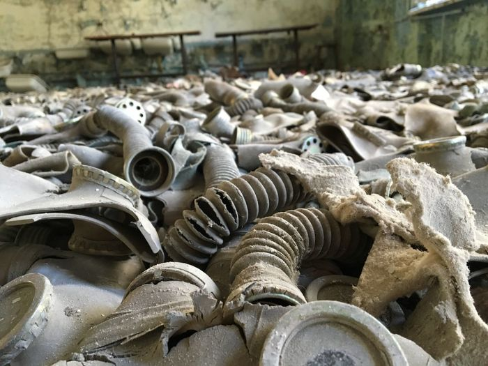 Abandoned pipes in room