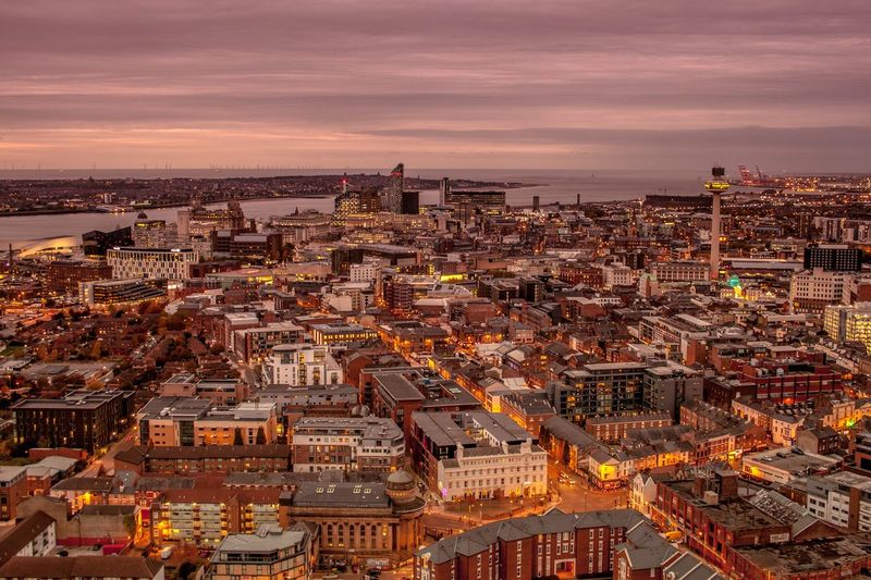 Liverpool Twightlight Liverpool Cityscape Liverpool At Night Liverpool Skyline Snowdrop Ferry Liver Birds Architecture Liverpool Architecture Building Exterior City Built Structure Building Sky Cityscape High Angle View Aerial View Outdoors Sea