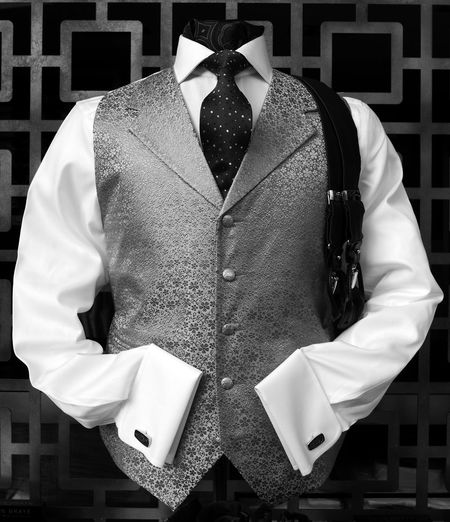 Waistcoat With Shirt And Necktie For Display At Shop Window