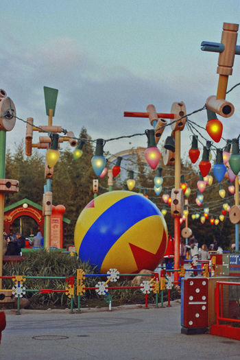 Toy Story Land, Paris. Disney Disneyland MOVIE Toy Story Architecture Arts Culture And Entertainment Balloon Building Exterior Built Structure Celebration Choice City Day Decoration Festival Lighting Equipment Multi Colored Nature No People Outdoors Park Shape Sky Street Transportation
