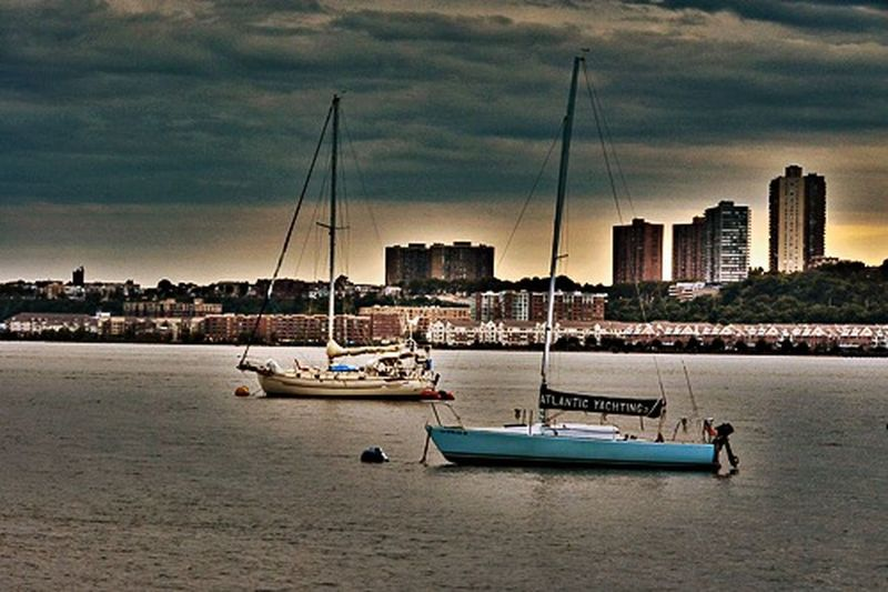 Newyorkcity Sailing Sailboat Going Sailing Hudson River Boat Basin