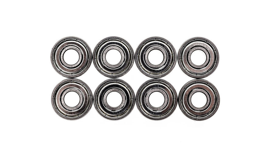 New replacement Roller Skate Bearings isolated on white background. Standard ABEC7 type bearings for inline skates, skateboards or scooters. ABEC 7 Industrial Mechanical New Roller Bearing Abec Ball Bearing Bearings Clean Close-up Inline Inline Skates Bearings Inline Skating Metal Metallic Product Photography Replacement Servis Skateboard Skateboard Bearings Skateboard Wheel Speed Studio Shot Tabletop White Background