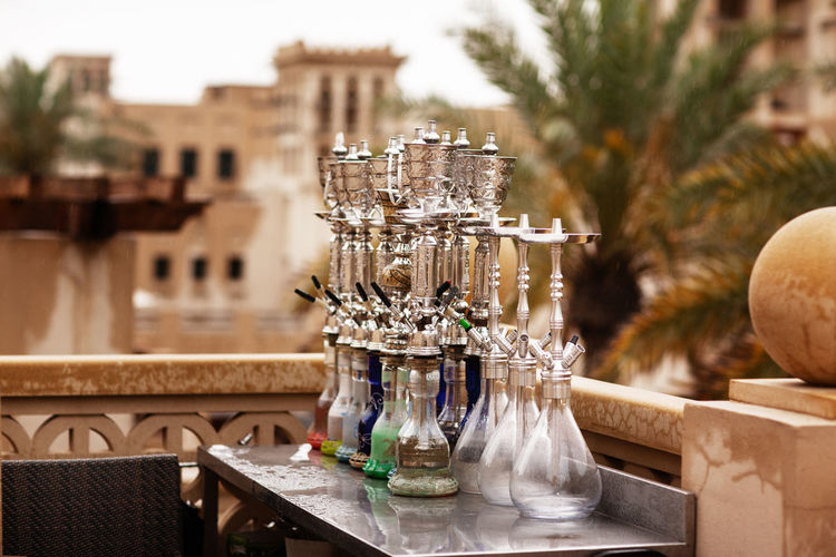 Hookahs on the streets of the old city in dubai