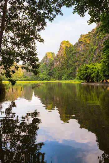 Beautiful Tam Coc river Reflection Water Tree Plant Beauty In Nature Tranquility Tranquil Scene Sky Scenics - Nature Nature No People Day Idyllic Non-urban Scene Cloud - Sky Outdoors Green Color Tam Coc Vietnam Forest Woods River Calm Water Moutains Sunlight