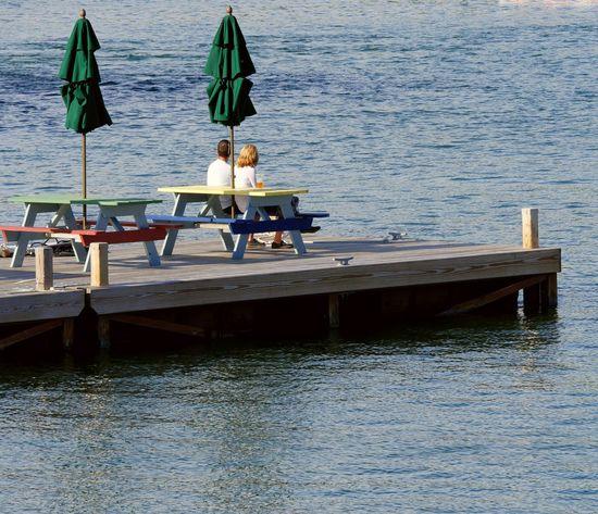 Couple Relaxing Evening Sea Jetty Bar Umbrella Quay Water Tranquil Scene Calm Ocean Watching Picsartrefugees