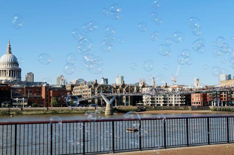 View of millennium bridge through bubbles