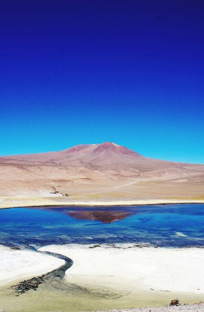 Blue Tranquil Scene Landscape Nature Scenics Tranquility Arid Climate Desert Copy Space Beauty In Nature Clear Sky Outdoors Salt - Mineral Remote Day Physical Geography No People Sand Salt Flat Salt Basin Atacama / Chile 🇨🇱