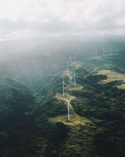 High angle view of wind turbines