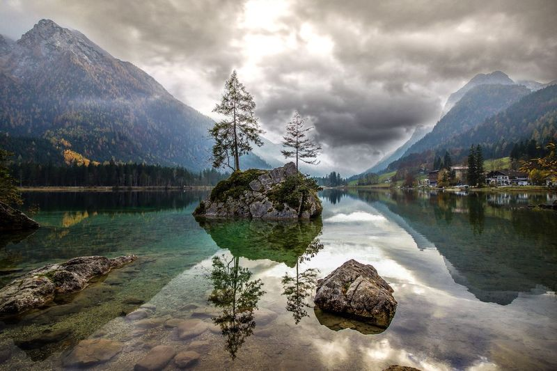 Ramsau, Germany Lake Mountain Reflection Water Nature Beauty In Nature Scenics Tranquility Tranquil Scene Cloud - Sky Sky Outdoors Day No People Tree Landscape