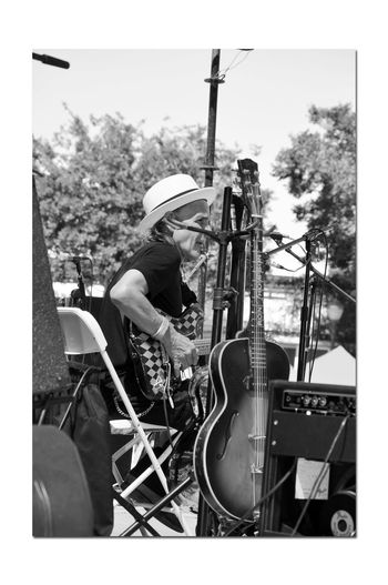 Russell City Blues Festival 2 Blues Bands Live Music Stage Performing Arts Musicians Instruments Bnw_friday_eyeemchallenge Bnw_performance Monochrome_Photography Monochrome Black & White Black & White Photography Black And White Black And White Collection  Microphones Monitors Speakers Amplifiers Guitar Guitarist Hat Summer Fun ☀️ Enjoying Life Russell City Blues Festival Downtown