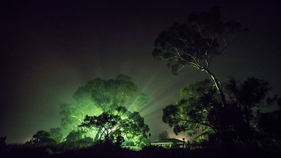 Rays of light due to thick fog Foggy Weather Rays Of Light Beauty In Nature Cloud - Sky Dark Environment Foggy Foggy Landscape Green Color Illuminated Land Nature Night No People Non-urban Scene Outdoors Plant Scenics - Nature Silhouette Tranquil Scene Tranquility Tree