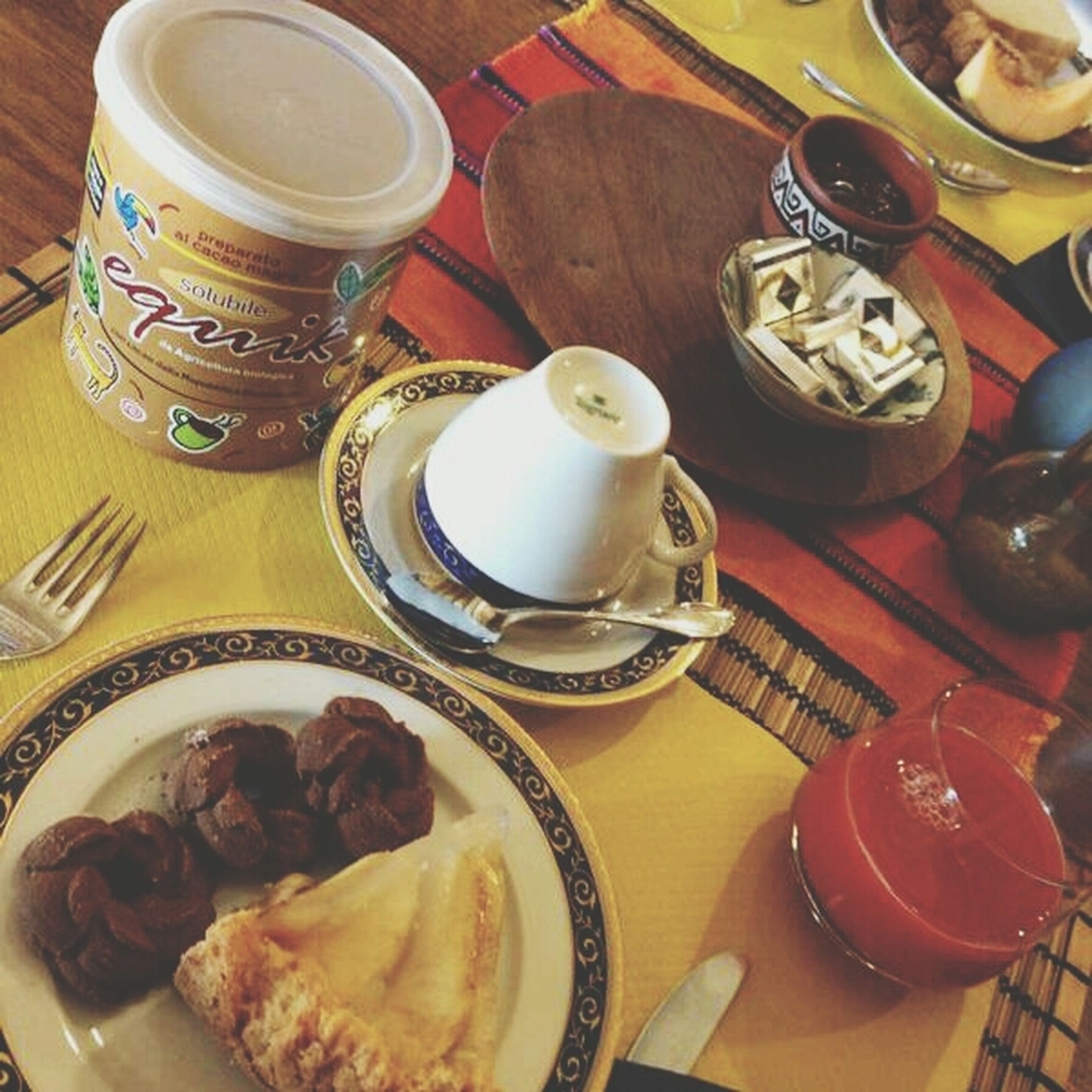 food and drink, freshness, food, indoors, plate, still life, ready-to-eat, drink, table, healthy eating, high angle view, refreshment, spoon, sweet food, breakfast, coffee cup, indulgence, serving size, dessert, coffee - drink