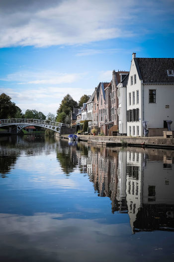 Architecture Building Exterior Built Structure Canal City Dokkum Dutch Cities Dutch Landscape Friesland Netherlands No People Outdoors Reflection Sky Traditional Windmill Typical Dutch Water Windmill