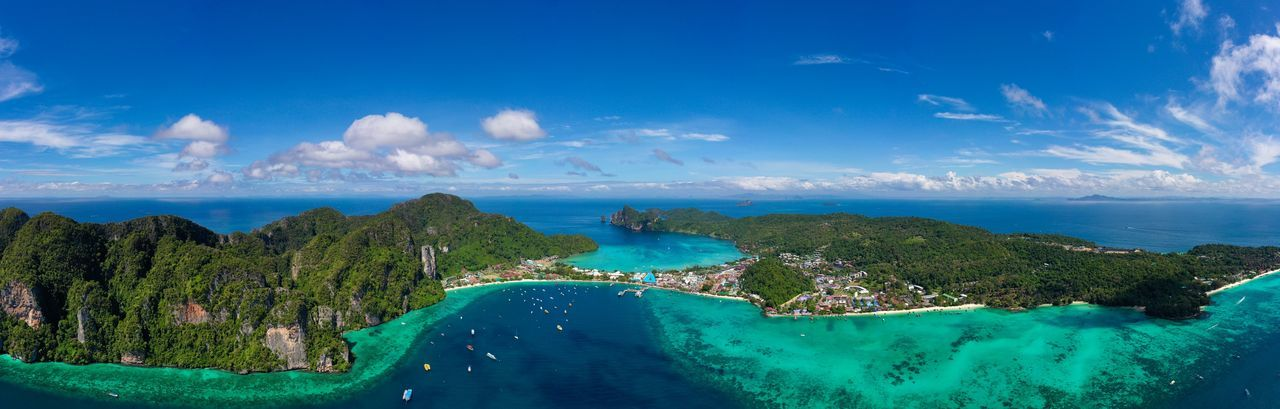High angle view of  phi phi island krabi thailand
