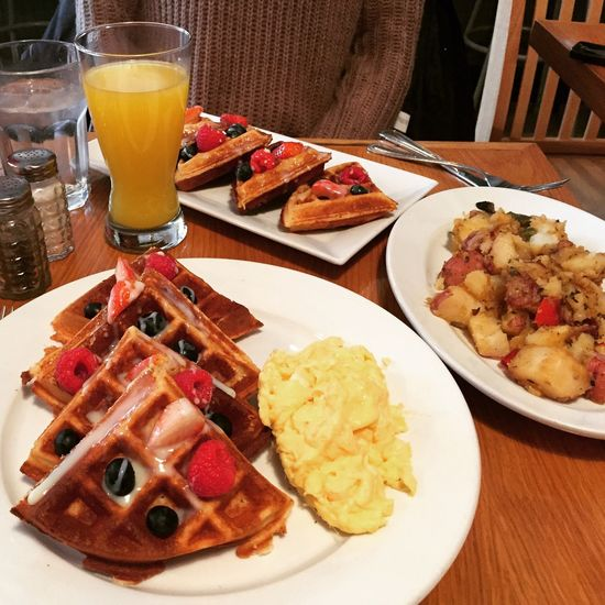 Breakfast. Food And Drink Plate Table Ready-to-eat Freshness Still Life Comfort Food Breakfast Breakfast ♥ Brunch Around The World NYC New York City New York Glass Mimosa Waffles Fruit