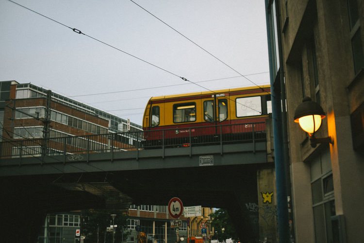 Low angle view of train against sky