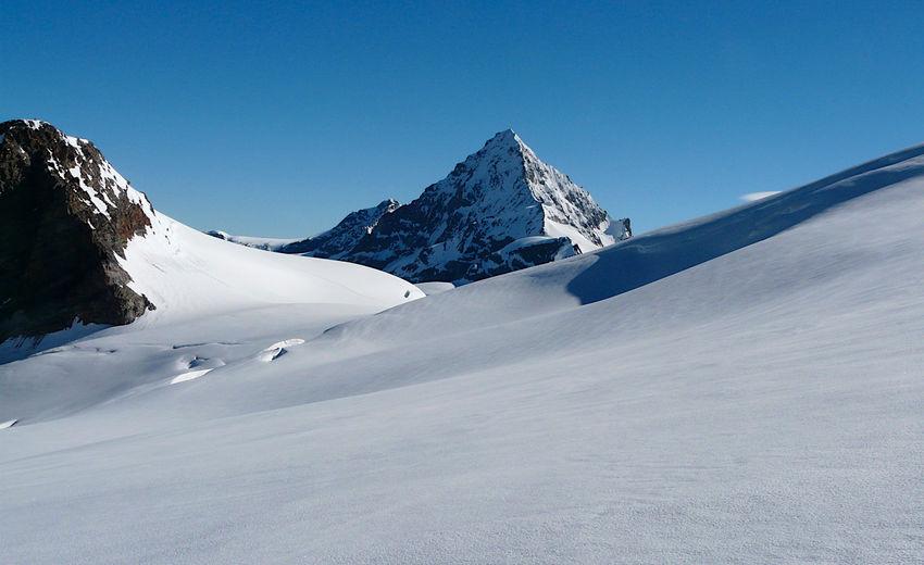 Dent blanche as seen from tsa se tsan glacier, swisse italian border, valpelline, italy.