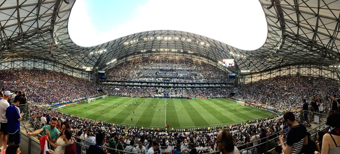 Large Group Of People Real People Stadium Sport Soccer Crowd Velodrome France UEFA EURO 2016 UEFA Uefa Euro League Semifinal Leisure Activity Panoramic Day Sky Women Sitting Audience Architecture Outdoors Match - Sport Grass Fan - Enthusiast People