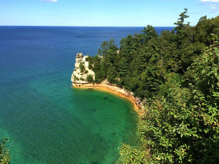 Cliff top in Wisconsin! Water Nature Beauty In Nature Tree Horizon Over Water No People Tranquil Scene Tranquility Sea Scenics Idyllic Beach Day Outdoors High Angle View Sky Blue Clear Sky Growth Green Color