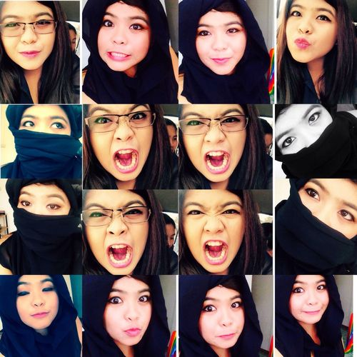 Nyahaha is this my Alter Ego ? Lol! Big Mouth Eye Liner Hijab Hijab Asia Demure Wild All In One  Hanging Out Hello World