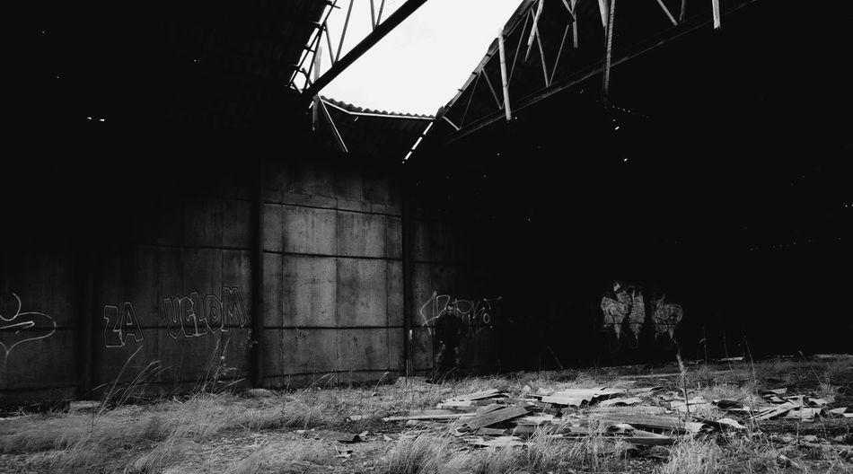 Abandoned room at night