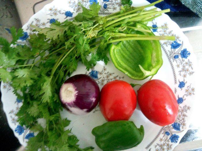 Ingredients Coriander Onions Tomatoes Capsicum