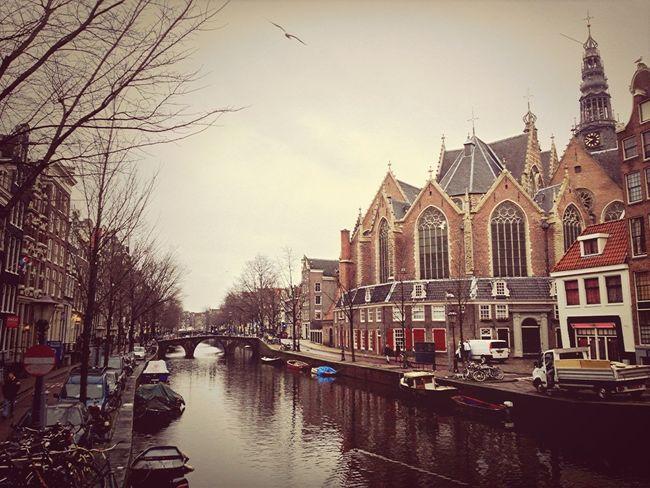 Water Amsterdam Church Canal
