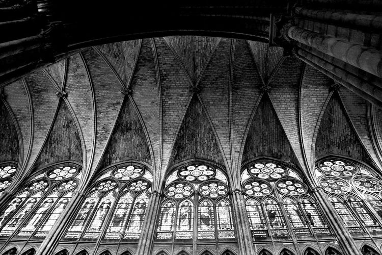 Paris cathedral Stained Glass Window Light And Shadow Black And White Paris, France  Architecture Low Angle View Built Structure Arch Indoors  No People Place Of Worship