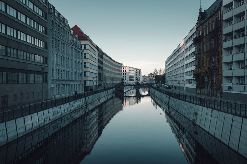 Berlin Mitte Residential District Architecture Berlin Blackandwhite Building Exterior Built Structure City Clear Sky Copy Space Day Houses No People Outdoors Reflection Reflections In The Water Sky Skyscraper Spree River Spree River Berlin Water Waterfront Winter