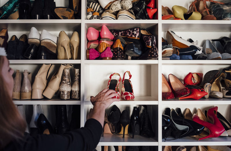 Low angle view of shoes for sale