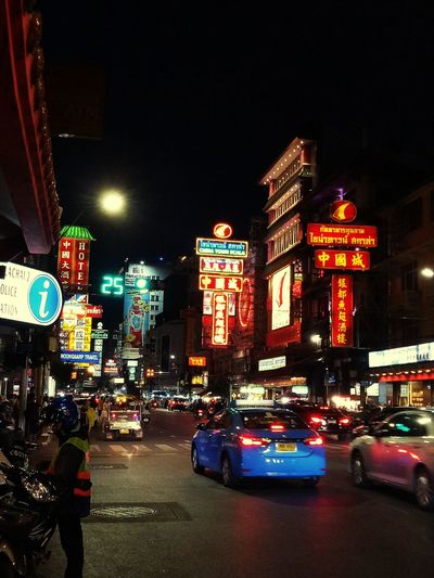 When in Thailand Thailand Chinatown Bangkok Thailand_allshots Thailandtravel Thailand Chinatown Thailandtravel City Illuminated Neon Cityscape Nightlife Car Crowd City Street Architecture Building Exterior Urban Skyline