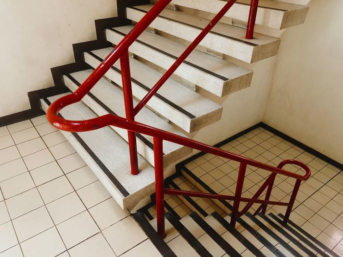 High angle view of empty staircase at home
