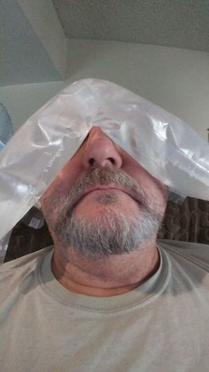 Ice Pack & A Nap... Plastics Plastic Pollution Headache Therapy Rest Pack Bag HEAD Headache Ice Man Beard Icepack Ice Pack Men Beard Headshot Close-up Recovery Hangover Forehead End Plastic Pollution