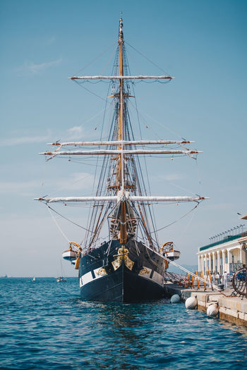 Nautical Vessel Mode Of Transportation Water Transportation Sky Sea Sailboat Sailing Pole Mast Nature Day Ship Waterfront Sailing Ship Travel Outdoors Clear Sky Blue Yacht Palinuro  Palinuro Ship