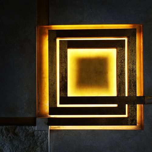 Light Sculpture City Wall Illuminated Square Vintage Design Light And Shadow Olivetti The Graphic City